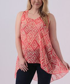 Look at this #zulilyfind! Coral & Ivory Sheer Geo Hi-Low Tank - Plus #zulilyfinds