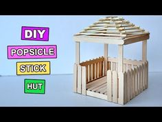 Popsicle Stick Crafts Miniature Relaxing Hut 3 is part of Kids Crafts Popsicle Sticks - Popsicle Stick Crafts Miniature Relaxing Hut 3 Lolly Stick Craft, Popsicle Stick Crafts For Adults, Ice Cream Stick Craft, Popsicle Stick Houses, Popsicle Crafts, Popsicle Stick Birdhouse, Craft Stick Projects, Craft Stick Crafts, Craft Sticks