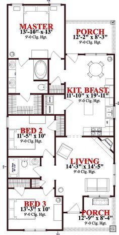 Bungalow Cottage Craftsman House Plan 78650 Level One 1260 sq ft 3 Bedroom Home Floor Plans, Bungalow Floor Plans, Cottage Floor Plans, House Floor Plans, Cottage Plan, Cottage House, Tiny House, Narrow Lot House Plans, House Plans One Story