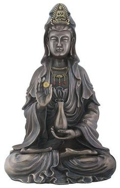 The mercy bodhisattva Kuan Yin is featured in this meditative altar statue. Hand painted for a faux bronze finish, it makes a striking desk or table ornament. Made of cold cast resin. Altar Design, Mother Goddess, Guanyin, Bronze Finish, Meditation, Antiques, Buddhist Quotes, Hand Painted, Altars