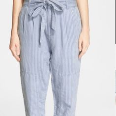 Marc by MJ linen blend trousers blue sz 6 nwt Cotton/linen blend striped belted pants Marc by Marc Jacobs Pants Trousers