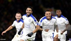 Riyad Mahrez of Leicester City celebrates after scoring to make it 0-1 during the Premier League match between Watford and Leicester City at Vicarage Road on March 5, 2016 in Watford, United Kingdom.