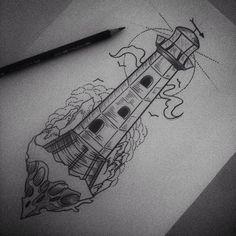 farol blackwork tattoo - Pesquisa Google