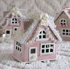 Vintage Style Christmas Pink Putz Glitter by saturdayfinds on Etsy