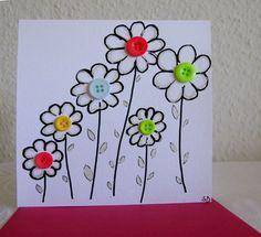 C'est une carte simple illustrée de petites fleurs et de boutons accompagnée d'une jolie enveloppe framboise.  La carte est peinte par mes soins. Les coloris :rose, bleu, vert - 4399309