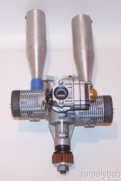 Very Nice MVVS 1.20 Opposed Twin R/C Model Airplane Engine W/Tuned Mufflers