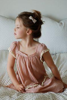 Peachy pom Pom dress, just right for summer. #estella #kids #designer #fashion