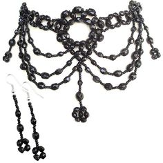 Black Victorian Hanging Pendant Necklace Set