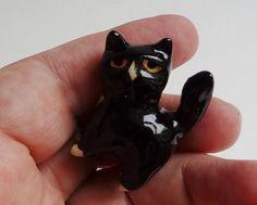 Terrarium Tuxedo Cat Handmade Miniature by FlowerandPearlStudio