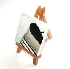 Original miniature painting on canvas with easel  by poosac, £20.00