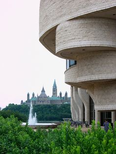 The Canadian Museum of Civilization (foreground, in Gatineau, Quebec) with the Canadian Parliament buildings in the background, across the Ottawa River in Ottawa. Ottawa Canada, Canada Eh, Quebec City, Ontario, Wonderful Places, Beautiful Places, Ottawa River, Alaska, Monuments