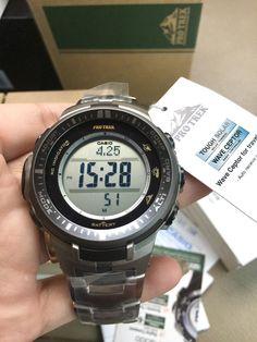 นาฬิกาข้อมือ Casio Protrek รุ่น PRW-3000T-7DR นาฬิกาข้อมือสำหรับผู้ชาย สายไทเทเนี่ยม แข็งแรงทนทาน สำหรับผู้ที่รักการผจญภัย เซ็นเซอร์ 3 ตัวเวอร์ชัน 3 ซึ่งเป็นเทคโนโลยีต้นแบบอันล้ำสมัยของ CASIO สามารถใช้เซ็นเซอร์ที่มีขนาดเล็กกว่ารุ่นก่อนถึง 95%