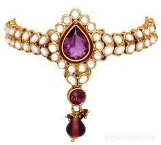 Purple and white kundan armlet