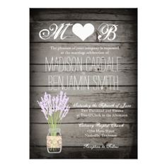 Mason Jar Lavender Rustic Wood Wedding Invitations