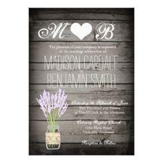 Mason Jar Lavender Rustic Wood Wedding Invitations