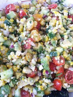 MARVELOUS Summer Salad: Corn, Avocado, Tomato, Cucumber, Feta & Red Onion with Cilantro Vinaigrette