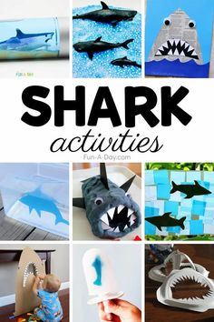 Have shark week anytime with these great shark activities for kids! Incorporate them into a preschool ocean theme or use them just for some great themed learning. There are sensory activities, art/crafts, math/literacy, and even snacks! Summer Preschool Activities, Early Learning Activities, Preschool Lesson Plans, Preschool Themes, Science For Kids, Kids Learning, Shark Activities, Literacy Activities, Math Literacy