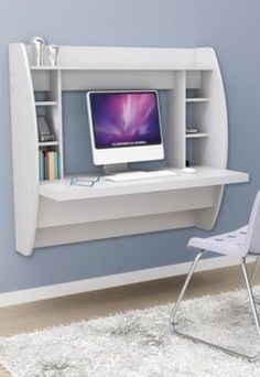 White Floating Desk With Storage. This Office Desk Furniture Is A Space Saving Solution For Any Home. Each Home Office Desk Is Easy To Mount And Features Ample Storage Space. Add This Modern Home Office Furniture To Your Workspace Today.