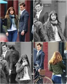 Fifty Shades of Grey, Ana leaving Christian after their coffee date. Seriously, Jamie has me convinced! The look of anguish on his face.... I. Just.. I dunno, no words. He is doing Christian justice and this just from stills