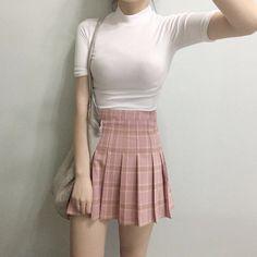 pink plaid w white