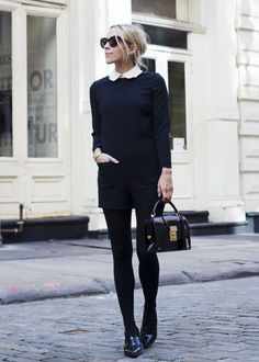 Jacey Duprie + super cute style + white collared shirt + navy playsuit + pair of classic loafers Playsuit: Valentino, Loafers: Zara, Bag: Thom Browne. Fashion Mode, Work Fashion, Style Fashion, Fashion Trends, Fashion Tips, Great Gatsby Outfits, Rosa Blazer, Casual Chique, Wearing All Black