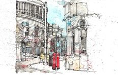 Loose watercolour sketched from Cafe Nero window.it's all about the post box! Landscape Sketch, Urban Landscape, Manchester Central, Travel Sketchbook, Central Library, Architecture Sketches, Architecture Portfolio, Urban Sketchers, Watercolor Sketch