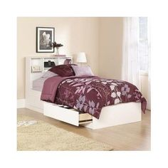 Twin Bed With Storage Drawers Frame Bookcase Headboard Platform Contemporary   #Mainstays