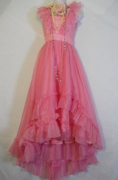 Pink ruffle  dress ruffles  vintage princess romantic prom  fairytale x-small by vintage opulence on Etsy.