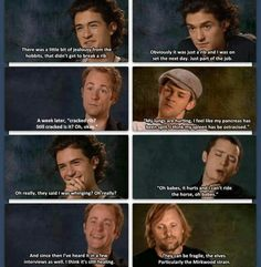 Funny quotes from the LOTR special features