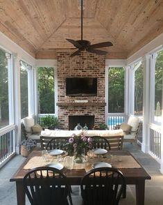 Screened Porch Design Ideas to Help You Backyard Plan Part 44 - Modern Screened Porch Designs, Screened In Porch, Screened Porch Decorating, Porch And Patio, Screened Porch Furniture, Back Porch Designs, Cozy Patio, Summer Porch, Small Patio