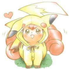 Vulpix wearing a Pikachu hoodie