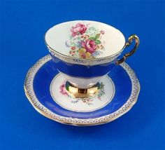 Striking Blue and Floral Bouquet Tapered Adderley Tea Cup and Saucer Set
