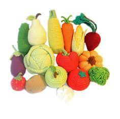 Crochet knit vegetables fruits 16 Pcs play food Handmade toy eco friendly kitchen decoration hypoallergenic toy (65.00 USD) by HomeToysByGalatova