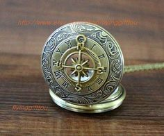The compass Pocket Watch Necklace Mens Jewelry by flyinggifttou, $3.99