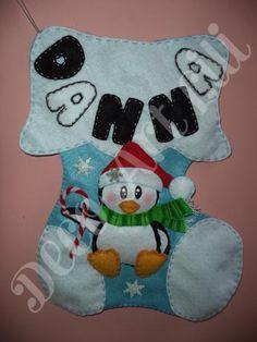 bota navideña pinguino