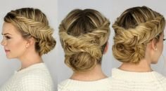 Double Dutch Fishtail Braid Updo. Love this I would do the bun a little different though.
