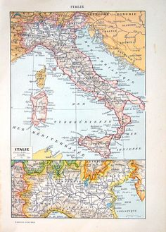 Italy Map Antique Map 1908 12 x 8 French by mysunshinevintage