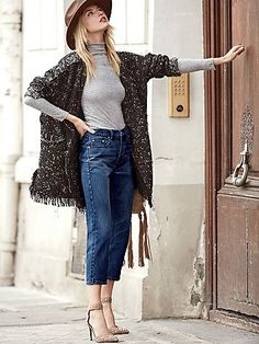 Parisian Fall Afternoons // Uptown Slim Straight Jeans   High waisted straight leg jeans featuring a slouchy fit. Five-pocket style with a button fly and belt loops at the waist.