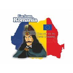 Abtibild reprezentand a Vlad Tepes pe harta tricolora