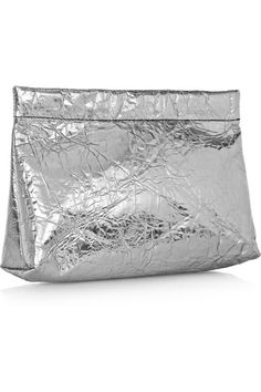 acne silver leather clutch.