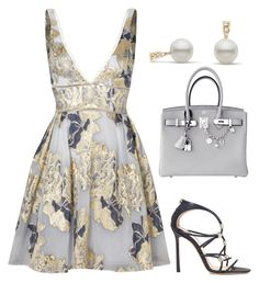 """""""Untitled #697"""" by mchlap on Polyvore featuring Notte by Marchesa, Jimmy Choo and Hermès"""