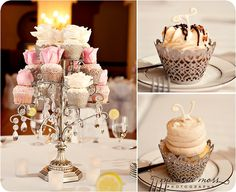 Love this cupcake holder with the dangling diamonds!