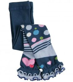 Cotton/polyester/spandex blend knit footless tights with solid color upper, meow stripe print right mid-leg, moe spot print left mid-leg, heart print trimmed lower legs and elasticized layered scalloped hem. Length finishes at ankle. Machine washable. Imported.