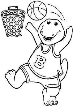 Barney Playing Basketball Coloring Pages For Kids Printable