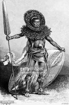 Stock Illustration : Masai warrior, by Illarion Michajlovic Prjanisnikov (1840-1894), from Le Tour du Monde Nouveau Journal de voyages, drawing from 1885, Africa, 19th century