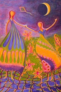 """""""Kite Dancer"""" - One of my own original oil paintings.  Depending on your own interpretation, they could be mother & daughter, sisters, or friends."""