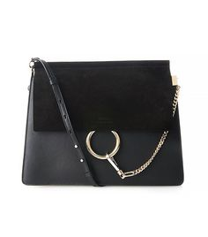 Chloé Faye Suede and Leather Shoulder Bag in Black