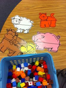 Here's a farm animal themed set of materials for a station on measuring length.