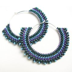 Peacock Tribal Hoops Sterling Silver with Striped Beadwork | Flickr - Photo Sharing!