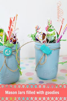 mason jars filled with goodies for a shower